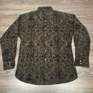Ike Behar Brown Velvet Medallion Shirt M